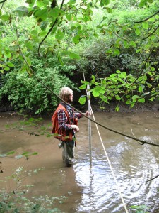 Taking active channel depth measurement during stream characteristics monitoring.